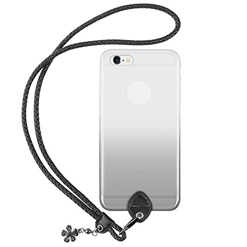 pzoz Case Compatible iPhone 6 Plus Lanyard Case, Silicone Case Cover Holder Long Hanging Neck Wrist Strap Outdoors Travel Necklace Compatible iPhone 6 Plus/6S Plus (Clear Black)
