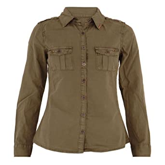 Womens Long sleeve Khaki Shirt: Amazon.co.uk: Clothing