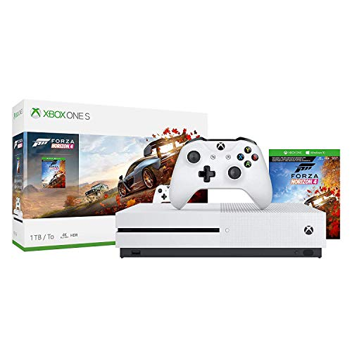 Microsoft Xbox One S 1TB/2TB Forza Horizon 4 Bonus Bundle: Forza Horizon 4, Xbox Wireless Controller, Xbox One S 4K HDR Console – White One S Gaming Console with 4K Blu-Ray Player