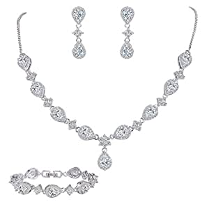 EleQueen Women's Silver-tone Cubic Zirconia Teardrop Flower Bridal V-Necklace Set Tennis Bracelet Dangle Earrings Clear
