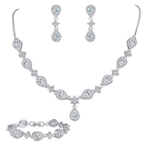 [EleQueen Women's Silver-tone Cubic Zirconia Teardrop Flower Bridal V-Necklace Set Tennis Bracelet Dangle Earrings] (Necklaces And Earrings)