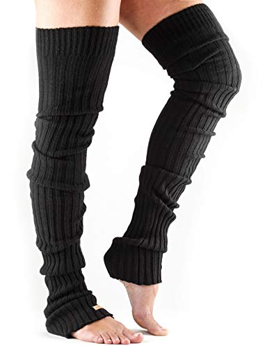 (ToeSox Women's Thigh High Ribbed Knit Warmers (Black))