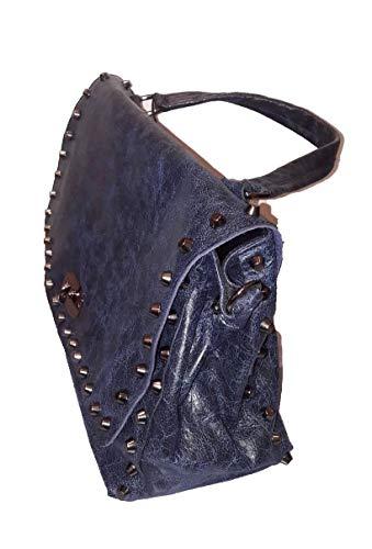 Massimiliano Incas Sac De Taille Moyenne Bleu Avec Des Goujons En Argent, Soufflet Cm 13 Sangle