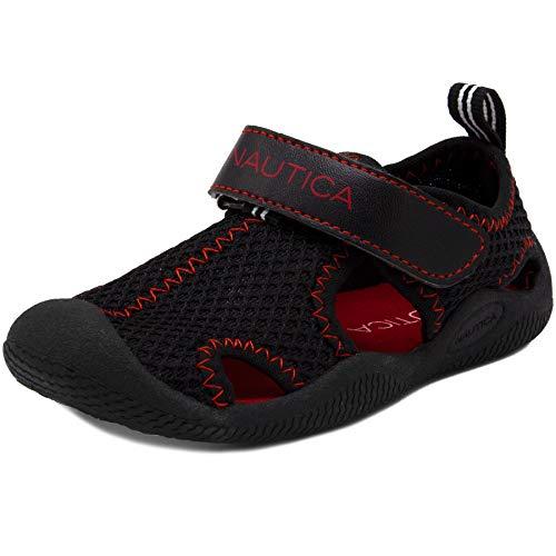 Nautica Kids Kettle Gulf Protective Water Shoe,Closed-Toe Sport Sandal-Black Mesh Red-7 ()