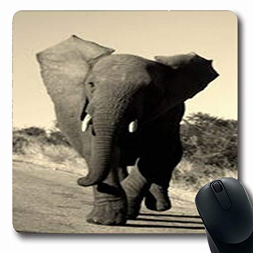 Pandarllin Mousepads Group Monochrome Action Shot Elephant Eastern Bull Charging Wildlife Nature Oblong Shape 7.9 x 9.5 Inches Oblong Gaming Mouse Pad Non-Slip Rubber Mat