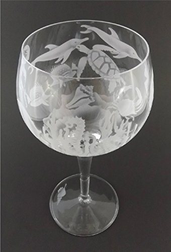 IncisoArt Hand Etched Italian Crystal Goblet Sandblasted (Sand Carved) Handmade Wine Water Glass Engraved (Aquatic Animals Ocean Combo, 500 Milliliter (17 Ounce) Red Wine) by IncisoArt