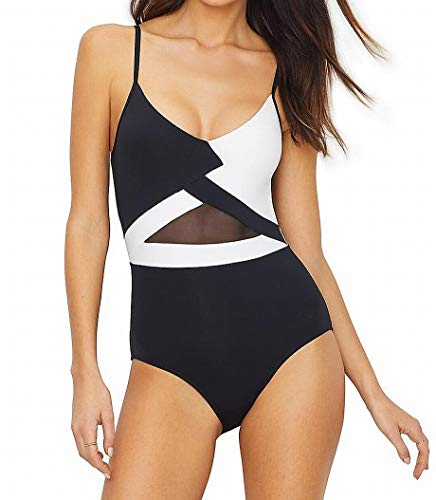 Anne Cole Women's Mesh Black and White V Neck Sexy One Piece Swimsuit, ()