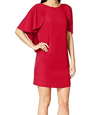 Women's Petite Capelet Shift Dress Red 4P