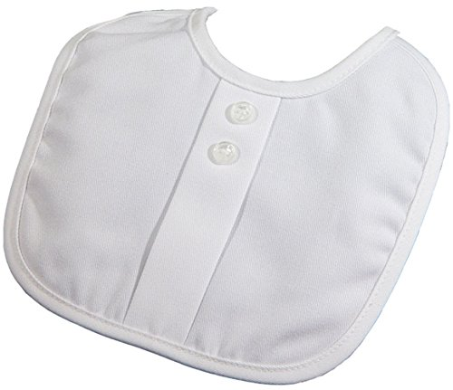 Boys Poly Rayon Gabardine Christening Bib with Pleat and Button