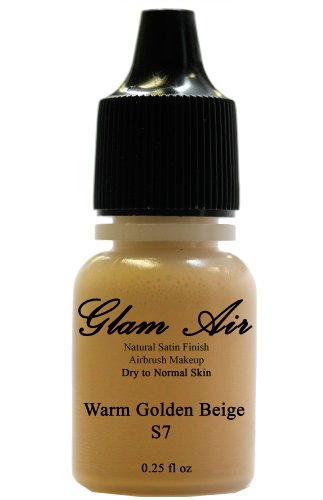 Airbrush Makeup Foundation Satin S7 Warm Golden Beige Water-based Makeup Long Lasting All Day Without Smearing Running, Fading or Caking 0.25 Oz Bottle By Glam Air