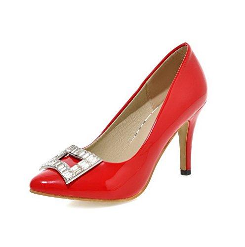 AllhqFashion Damen Hoher Absatz Eingelegt Ziehen auf Lackleder Spitz Zehe Pumps Schuhe Rot