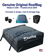 RoofBag Rooftop Cargo Carrier   Waterproof   Made in USA   1 Year Warranty   Fits All Cars: with Side Rails, Cross Bars or No Rack   Includes Heavy Duty Straps
