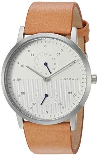 Skagen Multifunction Watch - Skagen Men's Kristoffer Multifunction Quartz Stainless Steel and Leather Casual Watch Color: Stainless, Tan (Model: SKW6498)