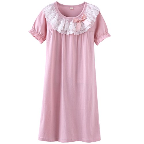DGAGA Little Girls Princess Nightgown Cotton Lace Bowknot Sleepwear Nightdress Pink 6-7 Years /130cm