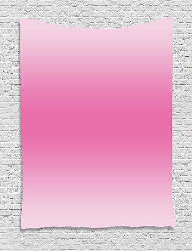 Cotton Tale Wall Art - Ambesonne Ombre Tapestry, Fairytale Cotton Candy Inspired Girly Design Room Decorations Digital Modern Art Print, Wall Hanging for Bedroom Living Room Dorm, 60 W x 80 L inches, Pink