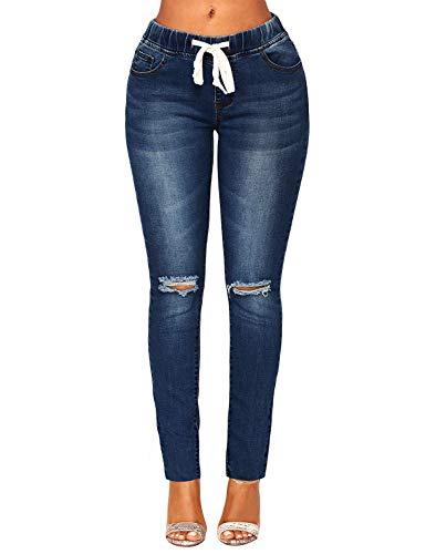 ACKKIA Women's Elastic Waist Skinny Stretch Ripped Distressed Slim Denim Jeans Pants Dark Blue, Size M ()