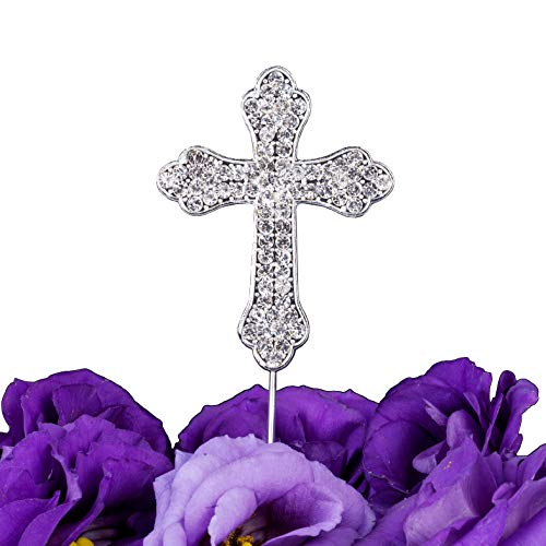 LOVENJOY Gift Box Pack Cross Rhinestone Crystal Cake Top Topper for Wedding Religious Baptism Christening First Communion Confirmation (2.2-inch wide)