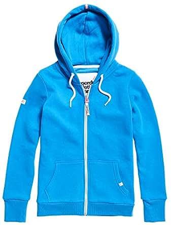 Superdry Women's LA Athletic Zip UP Hooded Jacket, Trady Blue, 10