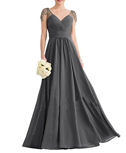 Nicefashion Women's Vintage 2019 V Neck Ruched Chiffon Long Evening Dress for Bridesmaids Gray US14
