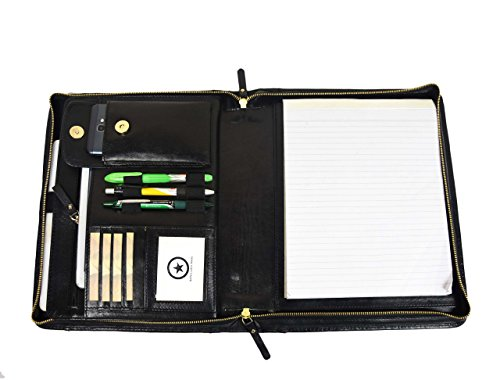 Premium Genuine Leather Business Portfolio and Professional Organizer, With a Zippered Closure,By Aaron Leather (Black w/o Handle)