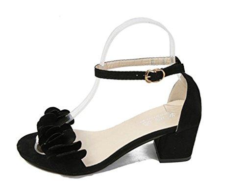 YUCH Las Mujeres Sandalias De Encaje Hueco Solo Zapatos Hasp Black