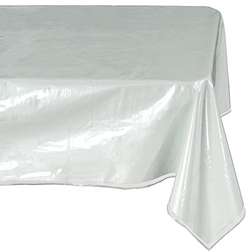 Ottomanson Heavy Duty Clear Plastic Tablecloth Clear Table Cover Protector White Sewn Edges Border Tablecloth, 54
