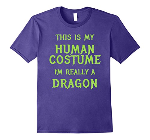 Cheap Easy Men's Halloween Costumes (Mens Dragon Halloween Costume Shirt Easy Funny for Boys Men Women Large Purple)