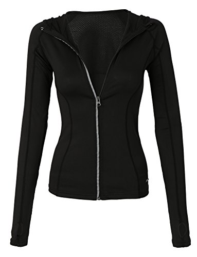 LE3NO Womens Full Up Zip Long Sleeve Active Sports Running Top