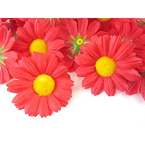 "(24) Silk Red Gerbera Daisy Flower Heads , Gerber Daisies - 1.75"" - Artificial Flowers Heads Fabric Floral Supplies Wholesale Lot for Wedding Flowers Accessories Make Bridal Hair Clips Headbands Dress 26"