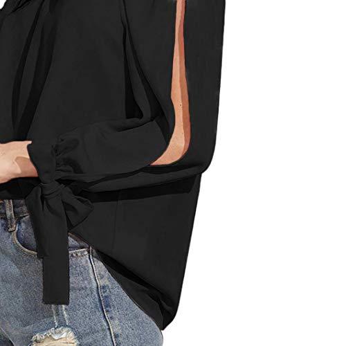 Tops Dnude Noir Manches Sexy Bringbring Tie Manchette Shirt Chemisier Blouse Slit Femme Longues Epaule Xvq5ZnxAO