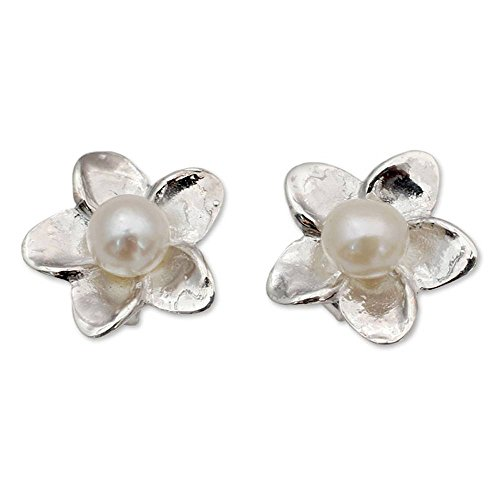 NOVICA Cultured Freshwater Pearl and .925 Sterling Silver Flower Button Earrings, White ()