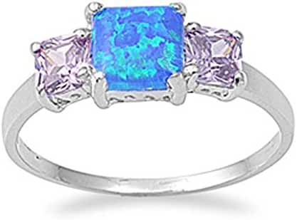CHOOSE YOUR COLOR Sterling Silver Square Ring