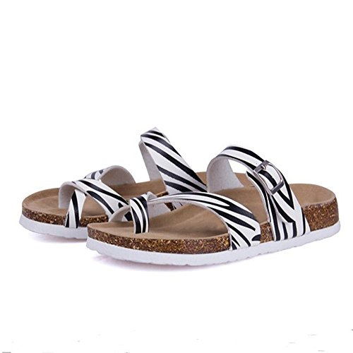 Strap 20 Slide Women's Slippers Cork Sandals Buckle Toe Adjustable Open with YaMiFan HRwqCYw
