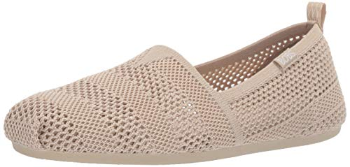 Skechers BOBS Women's Bobs Plush-Engineered Knit Slip on Ballet Flat, NAT, 9 M US