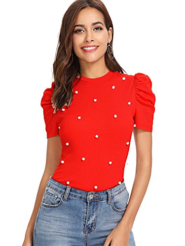 Romwe Women's Elegant Pearl Embellished Puff Short Sleeve Blouse Tops Red X-Small