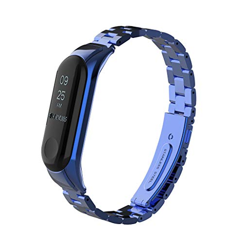 For Xiaomi Mi Band 4/3 Replacement Strap, BIYATE Miband 4 3 Replacement Band Stainless Steel Metal Buckle Wrist Strap Wristband Watchband Bracelet Replacement for Mi Band 3