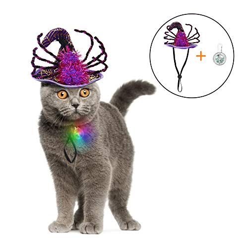 Halloween Hats For Cats (IPOW Cat Dog Halloween Costumes Hats Pet Costumes for Small Dogs Super Funny Cute Cat Dog Spider Costume Cat Witch Hat with an Individual Flashing LED Light Attractive Small Dog)