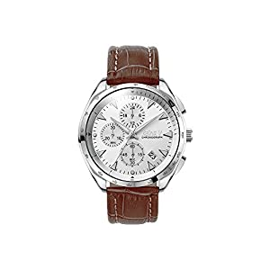 Robert Collection Men's Wrist Watch - Analog Display & Japanese Quartz - Stainless Steel Bezel Case & Brown Genuine Leather Strap - By Reina V