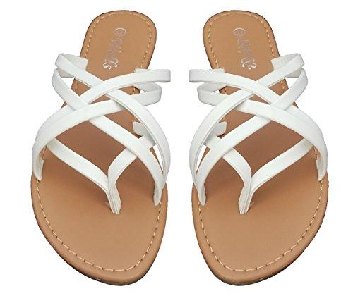 Strap White Double Flat Sandals Flop Fashion Strappy Elegant Flip Women's q81UTU