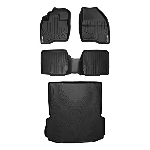 MAX LINER A0245/B0109/D0082 Custom Fit Floor Mats 2 Cargo Liner Set Black for 2017-2019 Ford Explorer with 2nd Row Center Console ()