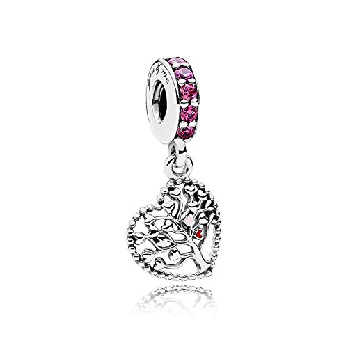 (Romántico Amor Tree of Love Charm Mixed Enamel Muti-Colored CZ Silver Bead fit Pandora Bracelets)