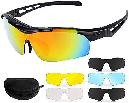 Gafas de Sol Deportivas Polarizadas para Ciclismo UV400 Y Montura De TR-90, Gafas para MTB Bicicleta Montaña 100% De Protección UV con 5 Set De Lentes Intercambiables para Hombre Mujer: Amazon.es: Deportes