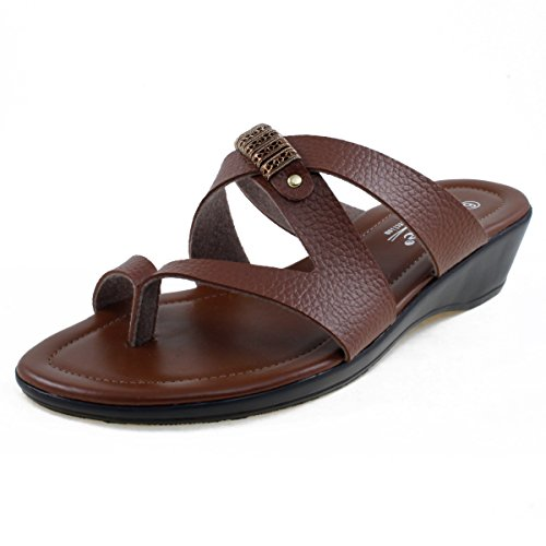 Cross Brown Pebbled - Agape HIDALGO-45 Crisscross Thong Sandal Brown 7.5