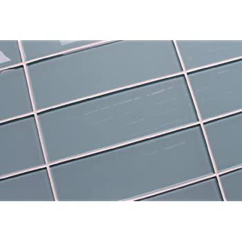 Sample Color Swatch Of Jasper Blue Gray Glass Subway Tiles For