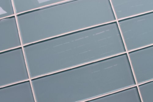 10 Sq Ft of Jasper Blue/Gray 4x12 Glass Subway Tiles for Kitchen Backsplash/Tub Surround from Rocky Point Tile
