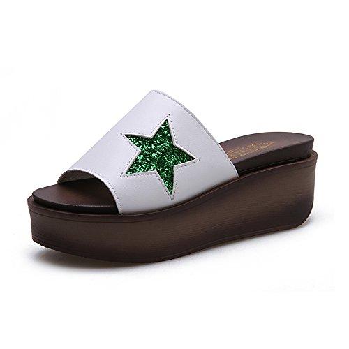 Blanc Couleur de taille femmes Été Pour pour UK4 femmes pantoufles Noir CN37 cool Chaussures HAIZHEN hauts Blanc chaussures talons 4 Femmes EU37 5cm plage 5 Blanc H7nwTaqU
