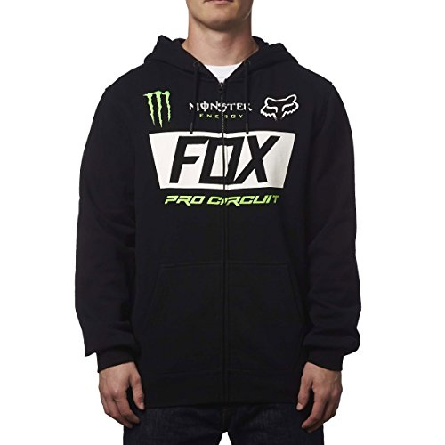Fox Racing Mens Monster Paddock Hoody Zip Sweatshirt Large Black (Racing Hoodie Monster Fox)