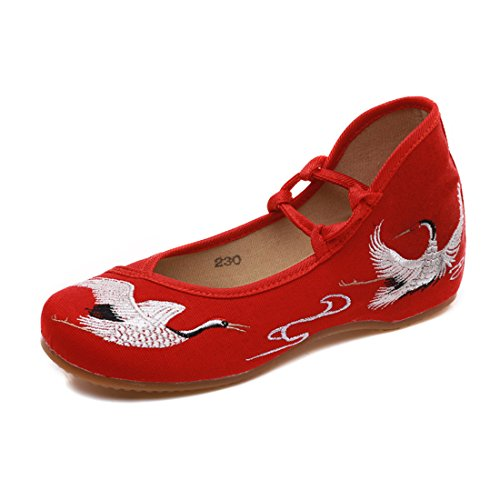 YIBLBOX Women's Summer Chinese Ankle Strap Mary Jane Flats Shoes Rubber Sole Strappy Red-crowned Crane Embroidery Dress Shoes