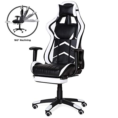 Best Choice Products Ergonomic High Back Executive Office Computer Racing Gaming Chair w/ 360-Degree Swivel, 180-Degree Reclining, Pull-Out Footrest, Adjustable Armrests, Headrest, Lumbar Support