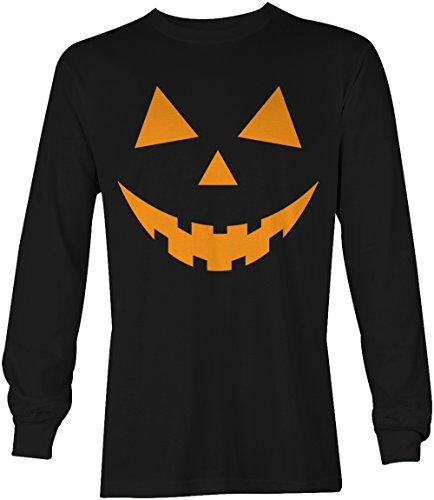 Tcombo Black Pumpkin Face - Halloween Teeth Long Sleeve Men's T-shirt (Large, Black)